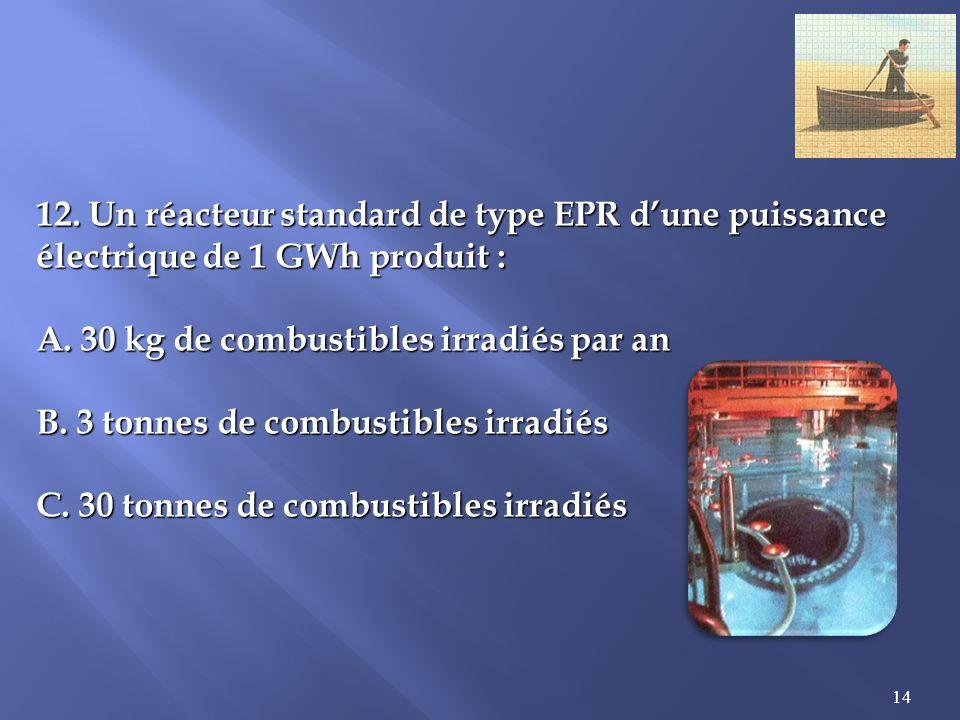 14 12.Un réacteur standard de type EPR dune puissance électrique de 1 GWh produit : A.