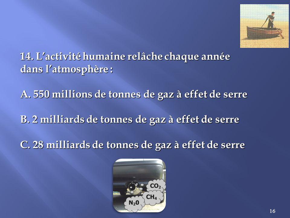16 14.Lactivité humaine relâche chaque année dans latmosphère : A.