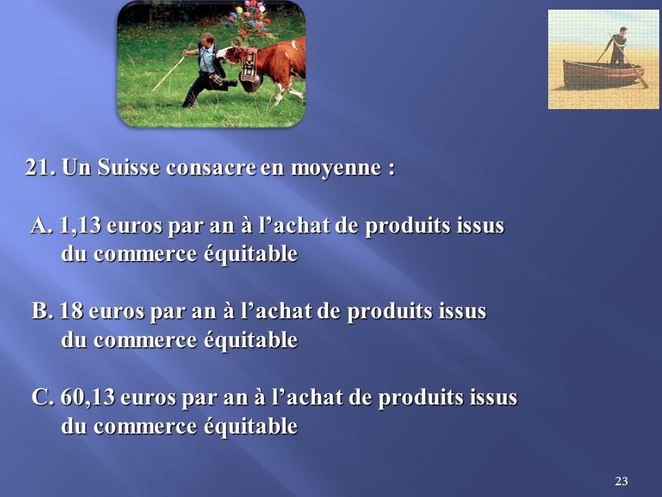 23 21.Un Suisse consacre en moyenne : A. 1,13 euros par an à lachat de produits issus A.