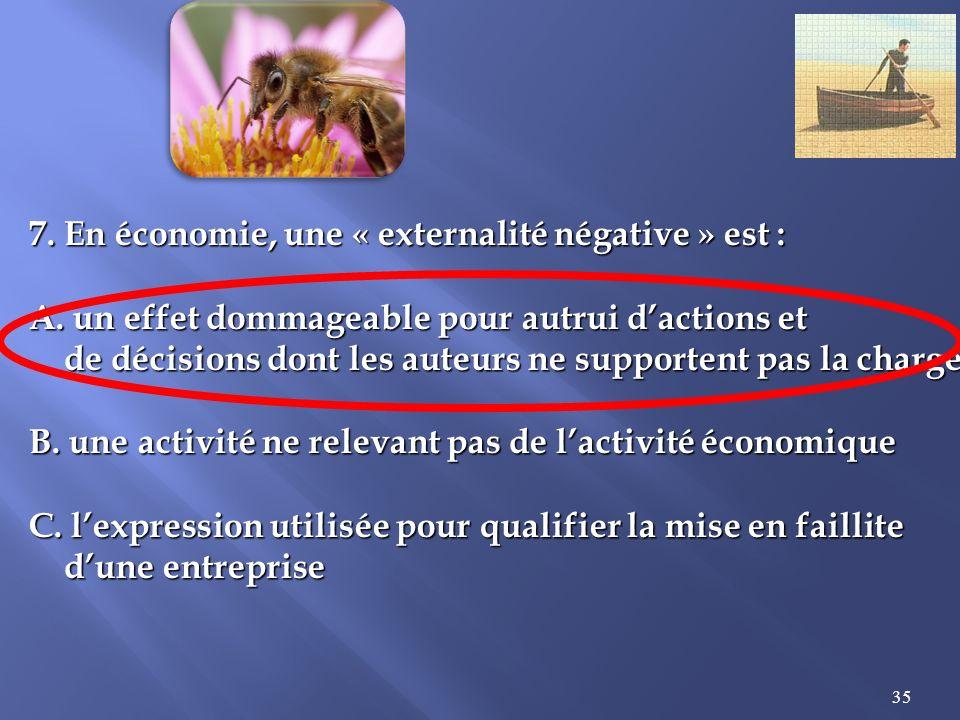 35 7.En économie, une « externalité négative » est : A.
