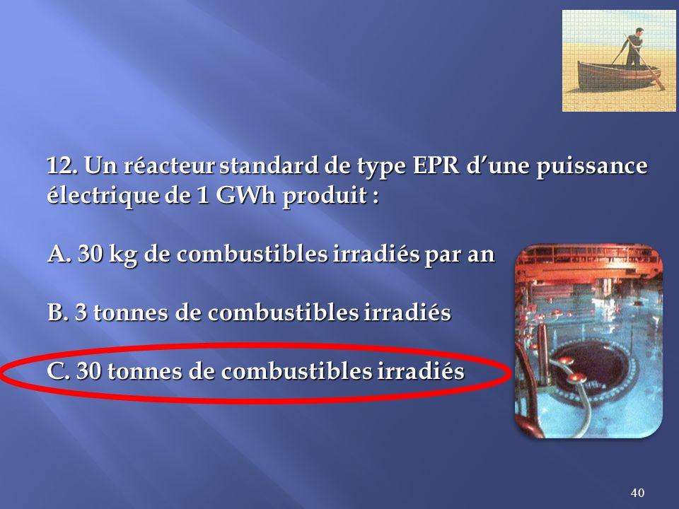 40 12.Un réacteur standard de type EPR dune puissance électrique de 1 GWh produit : A.
