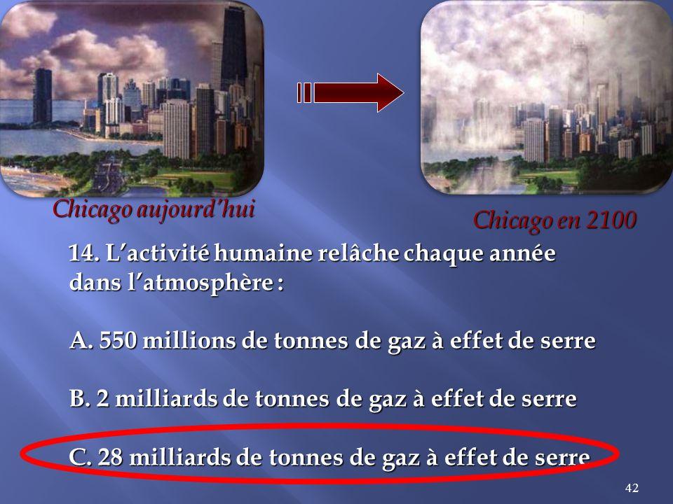 42 14.Lactivité humaine relâche chaque année dans latmosphère : A.