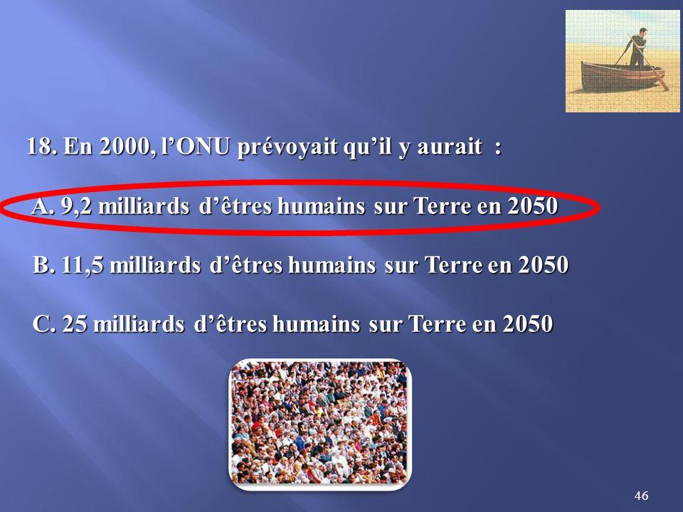 46 18.En 2000, lONU prévoyait quil y aurait : A. 9,2 milliards dêtres humains sur Terre en 2050 A.