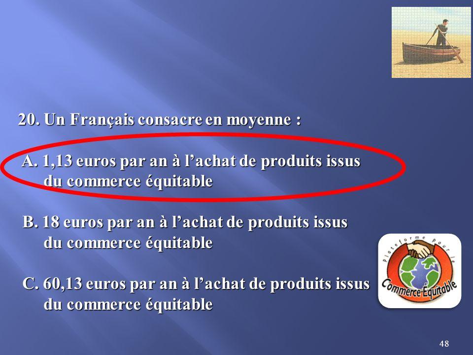 48 20.Un Français consacre en moyenne : A. 1,13 euros par an à lachat de produits issus A.