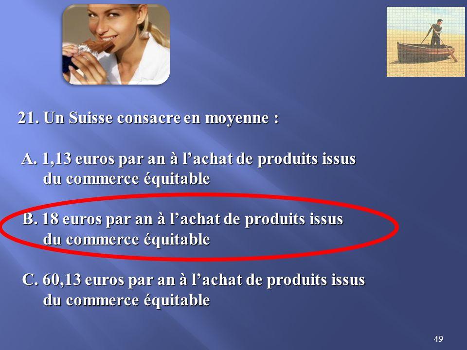 49 21.Un Suisse consacre en moyenne : A. 1,13 euros par an à lachat de produits issus A.