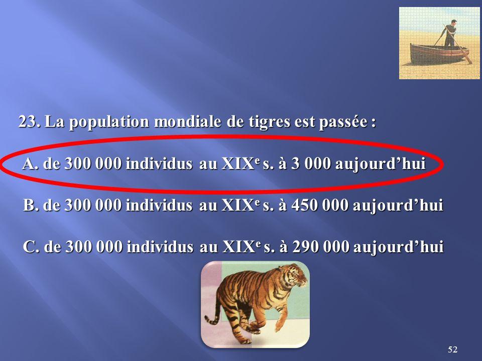 52 23.La population mondiale de tigres est passée : A.