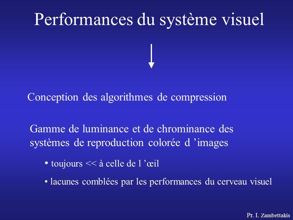 Pr. I. Zambettakis Performances du système visuel Conception des algorithmes de compression Gamme de luminance et de chrominance des systèmes de repro