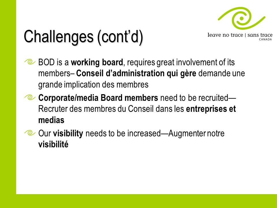 Challenges (contd) BOD is a working board, requires great involvement of its members– Conseil dadministration qui gère demande une grande implication des membres Corporate/media Board members need to be recruited Recruter des membres du Conseil dans les entreprises et medias Our visibility needs to be increasedAugmenter notre visibilité