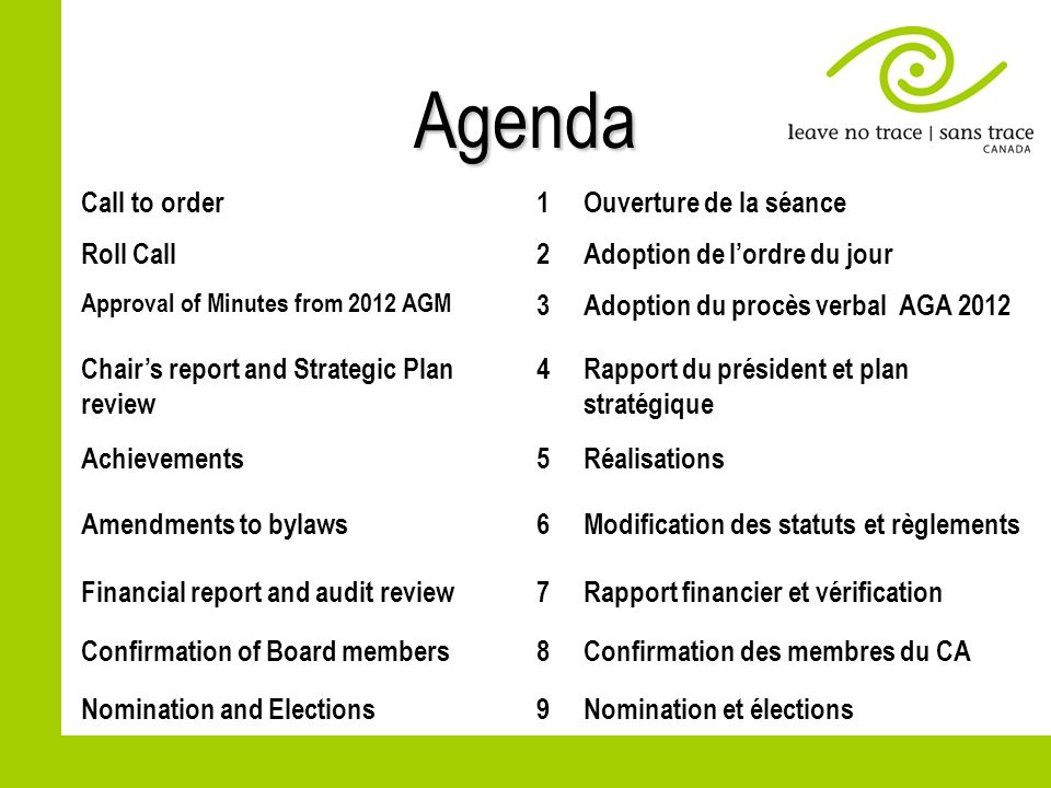 Agenda Call to order1Ouverture de la séance Roll Call2Adoption de lordre du jour Approval of Minutes from 2012 AGM 3Adoption du procès verbal AGA 2012