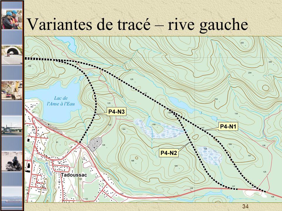 34 Variantes de tracé – rive gauche