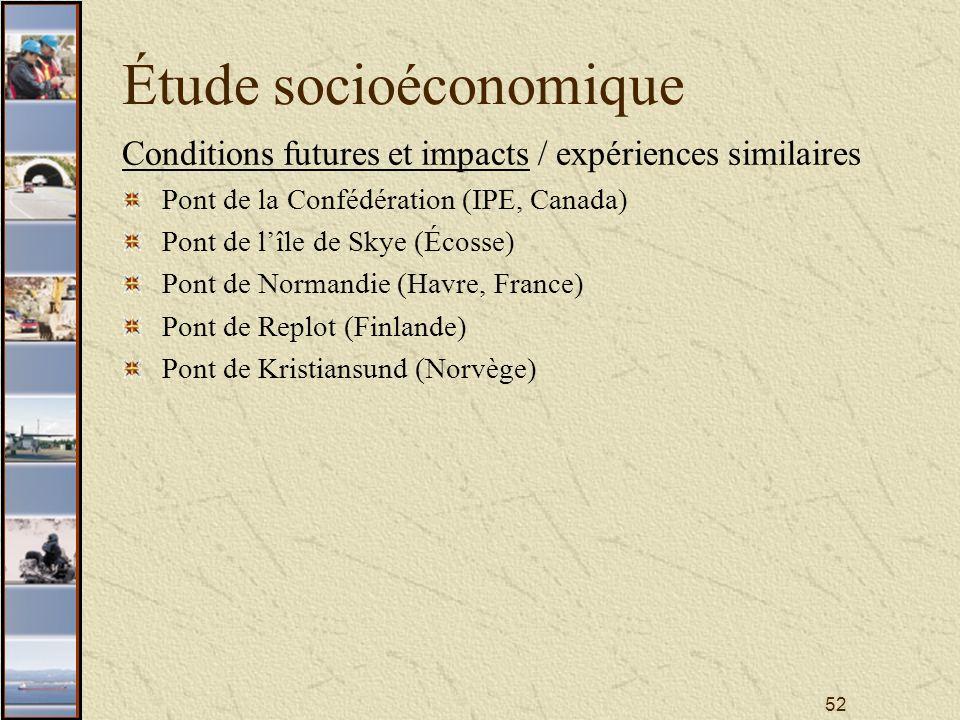 52 Étude socioéconomique Conditions futures et impacts / expériences similaires Pont de la Confédération (IPE, Canada) Pont de lîle de Skye (Écosse) Pont de Normandie (Havre, France) Pont de Replot (Finlande) Pont de Kristiansund (Norvège)