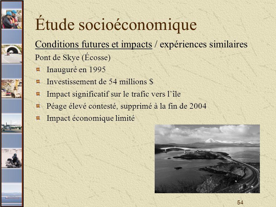 54 Étude socioéconomique Conditions futures et impacts / expériences similaires Pont de Skye (Écosse) Inauguré en 1995 Investissement de 54 millions $ Impact significatif sur le trafic vers lîle Péage élevé contesté, supprimé à la fin de 2004 Impact économique limité