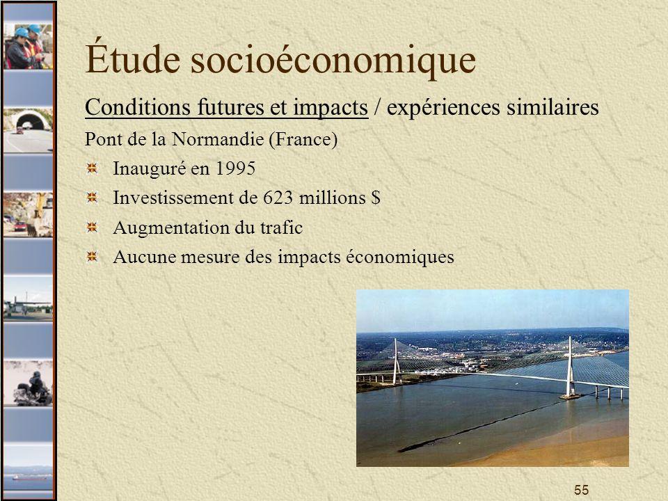 55 Étude socioéconomique Conditions futures et impacts / expériences similaires Pont de la Normandie (France) Inauguré en 1995 Investissement de 623 millions $ Augmentation du trafic Aucune mesure des impacts économiques