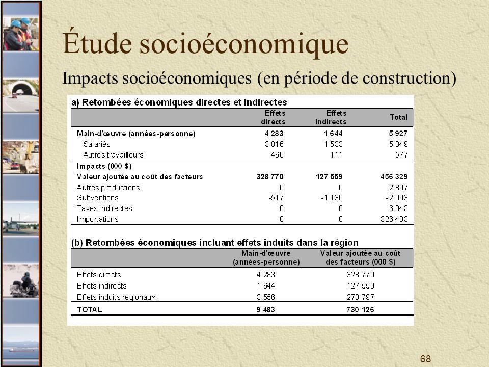 68 Étude socioéconomique Impacts socioéconomiques (en période de construction)