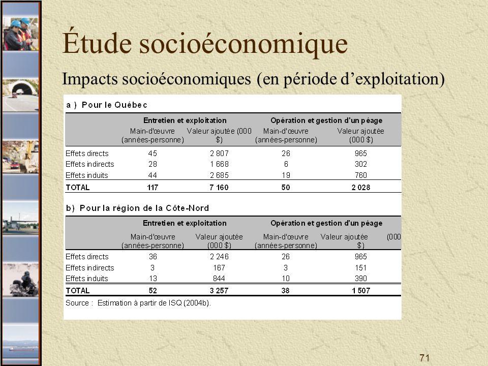 71 Étude socioéconomique Impacts socioéconomiques (en période dexploitation)