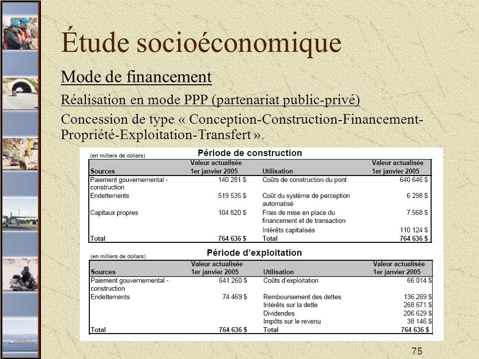 75 Étude socioéconomique Mode de financement Réalisation en mode PPP (partenariat public-privé) Concession de type « Conception-Construction-Financement- Propriété-Exploitation-Transfert ».