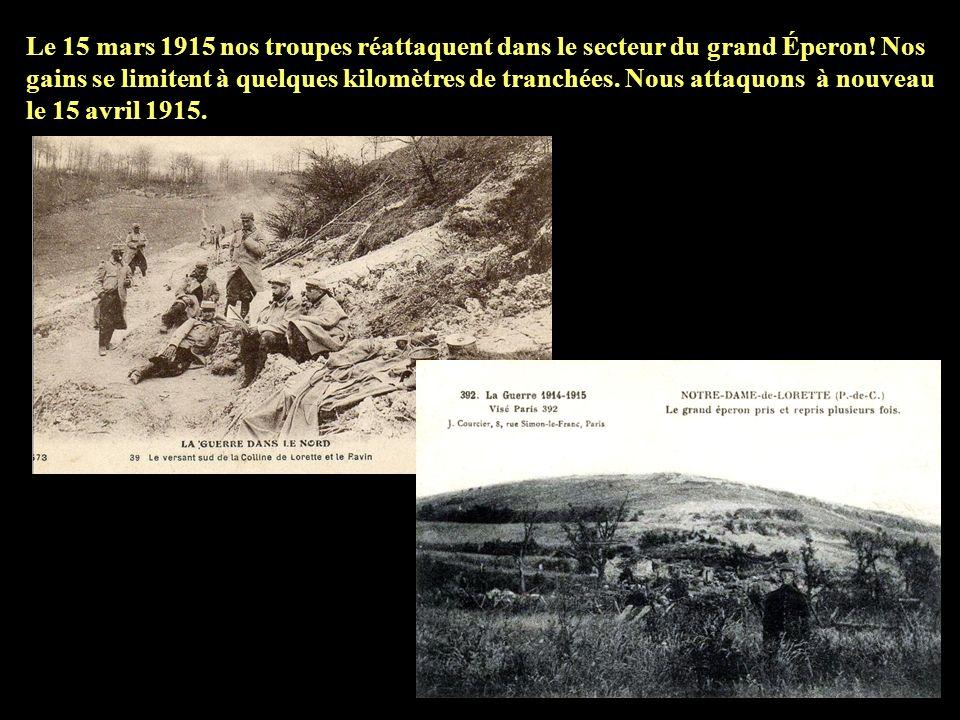 Le 3 mars 1915 a lieu une importante attaque allemande! 16 mines creusées sous nos tranchées explosent à 7 heures du matin! Malgré lampleur de lassaut