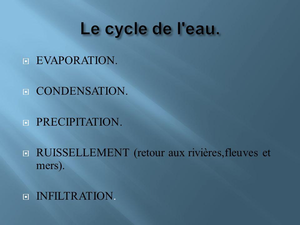 EVAPORATION. CONDENSATION. PRECIPITATION. RUISSELLEMENT (retour aux rivières,fleuves et mers). INFILTRATION.