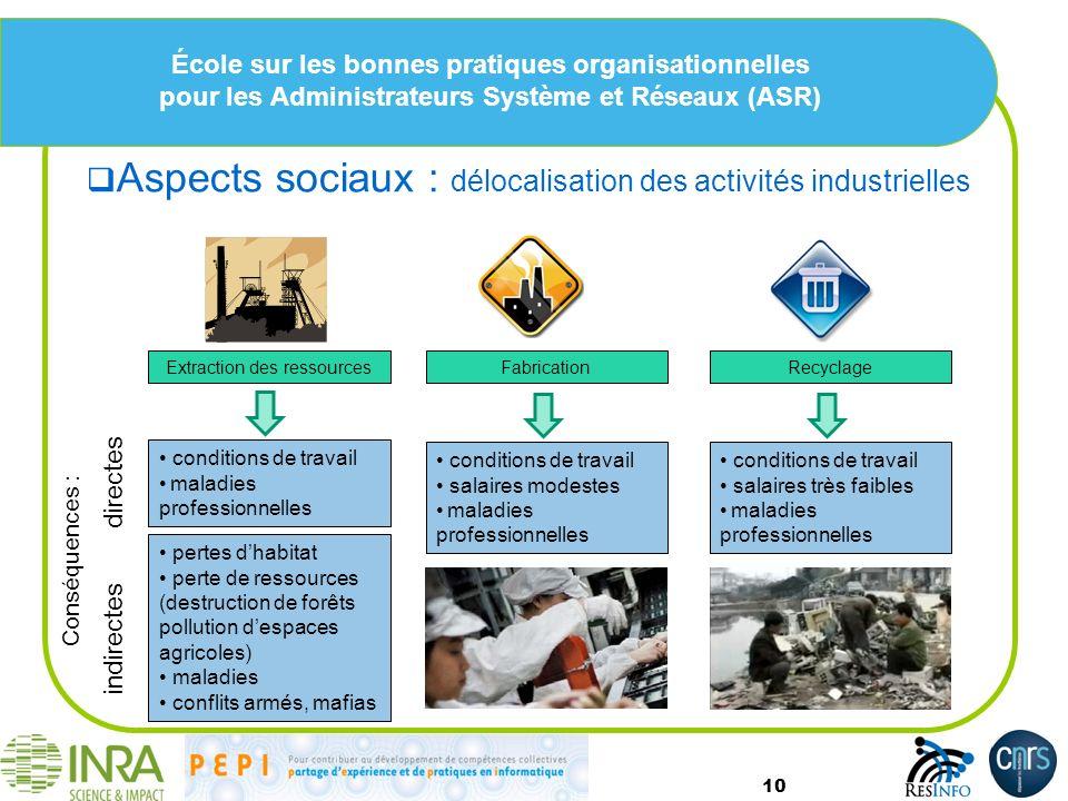 École sur les bonnes pratiques organisationnelles pour les Administrateurs Système et Réseaux (ASR) Aspects sociaux : délocalisation des activités ind