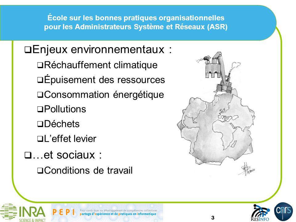 École sur les bonnes pratiques organisationnelles pour les Administrateurs Système et Réseaux (ASR) Enjeux environnementaux : Réchauffement climatique Épuisement des ressources Consommation énergétique Pollutions Déchets Leffet levier …et sociaux : Conditions de travail 3