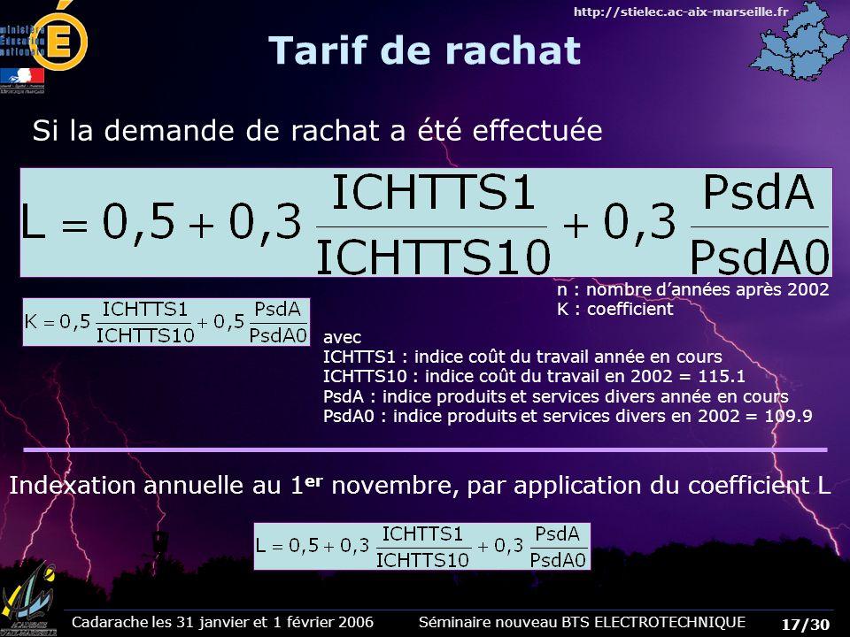 Cadarache les 31 janvier et 1 février 2006 Séminaire nouveau BTS ELECTROTECHNIQUE 17/30 http://stielec.ac-aix-marseille.fr Si la demande de rachat a é
