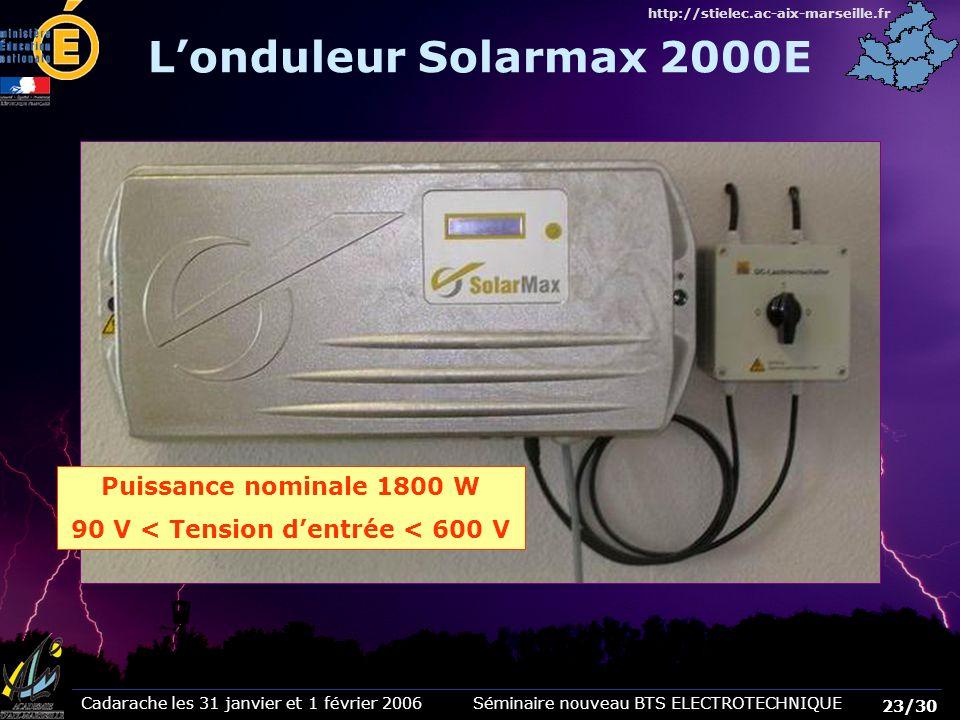 Cadarache les 31 janvier et 1 février 2006 Séminaire nouveau BTS ELECTROTECHNIQUE 23/30 http://stielec.ac-aix-marseille.fr Puissance nominale 1800 W 9