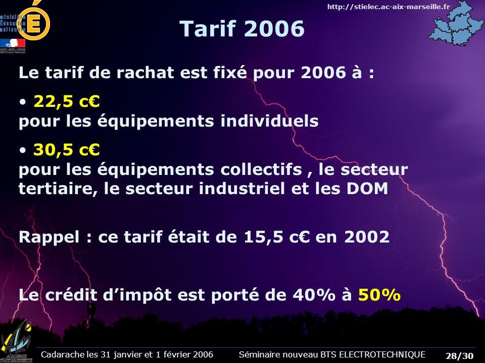 Cadarache les 31 janvier et 1 février 2006 Séminaire nouveau BTS ELECTROTECHNIQUE 28/30 http://stielec.ac-aix-marseille.fr Tarif 2006 Le tarif de rach