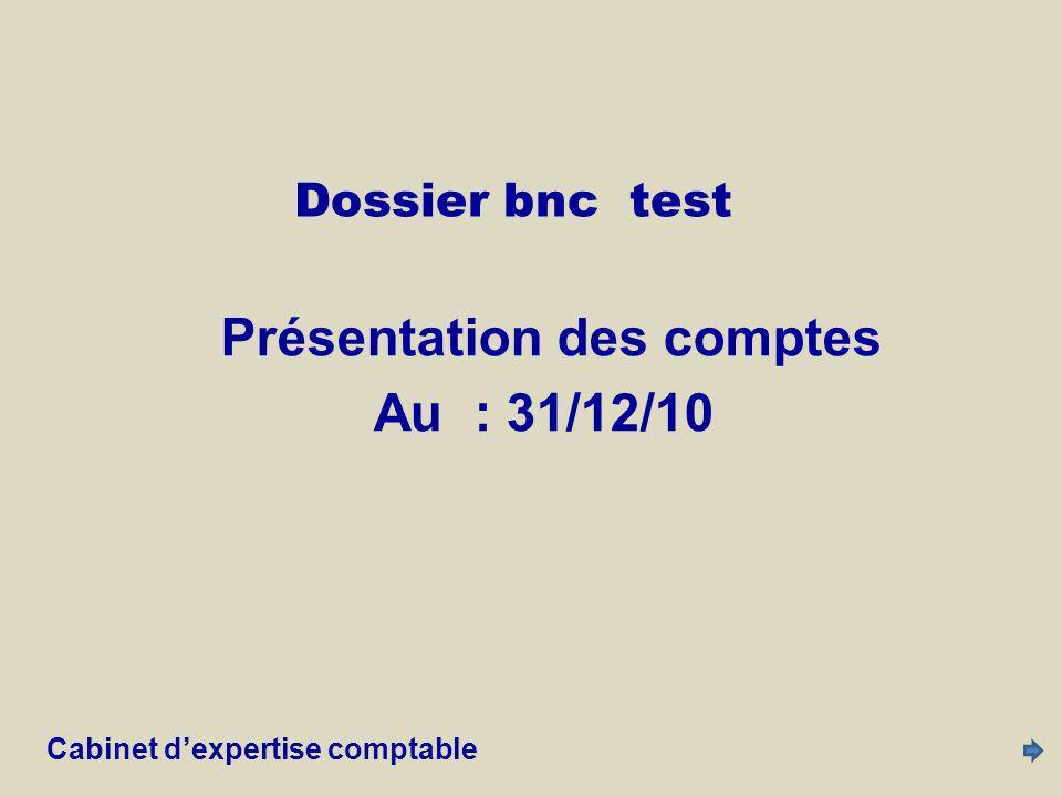 Dossier bnc test L1C2 31/12/10 L1C3 31/12/09 L3C2 60 000 L3C3 60 068 L3C4 -(L3C2,L3C3) L4C2 35 228 L4C3 33 551 L4C4 -(L4C2,L4C3) L5C2 27 842 L5C3 26 517 L5C4 -(L5C2,L5C3) Cabinet d expertise comptable2 Var Recettes Dépenses Bénéfice / déficit Solde trésorerie Investissements Prélévements de lexploitant Cabinet d expertise comptable2