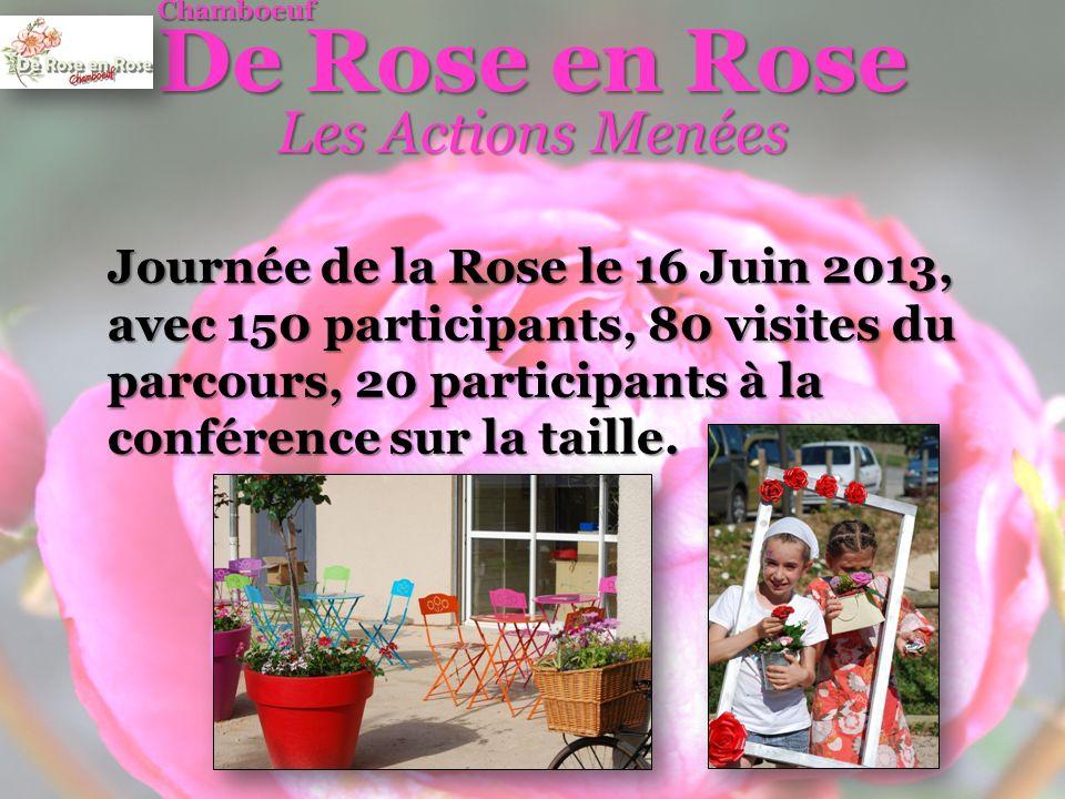 De Rose en Rose Chamboeuf Les Actions Menées Journée de la Rose le 16 Juin 2013, avec 150 participants, 80 visites du parcours, 20 participants à la conférence sur la taille.