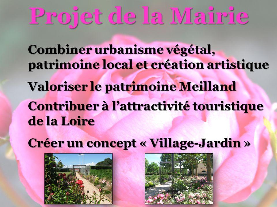 Projet de la Mairie Combiner urbanisme végétal, patrimoine local et création artistique Valoriser le patrimoine Meilland Contribuer à lattractivité touristique de la Loire Créer un concept « Village-Jardin »