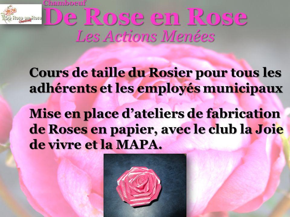 Cours de taille du Rosier pour tous les adhérents et les employés municipaux De Rose en Rose Chamboeuf Les Actions Menées Mise en place dateliers de fabrication de Roses en papier, avec le club la Joie de vivre et la MAPA.