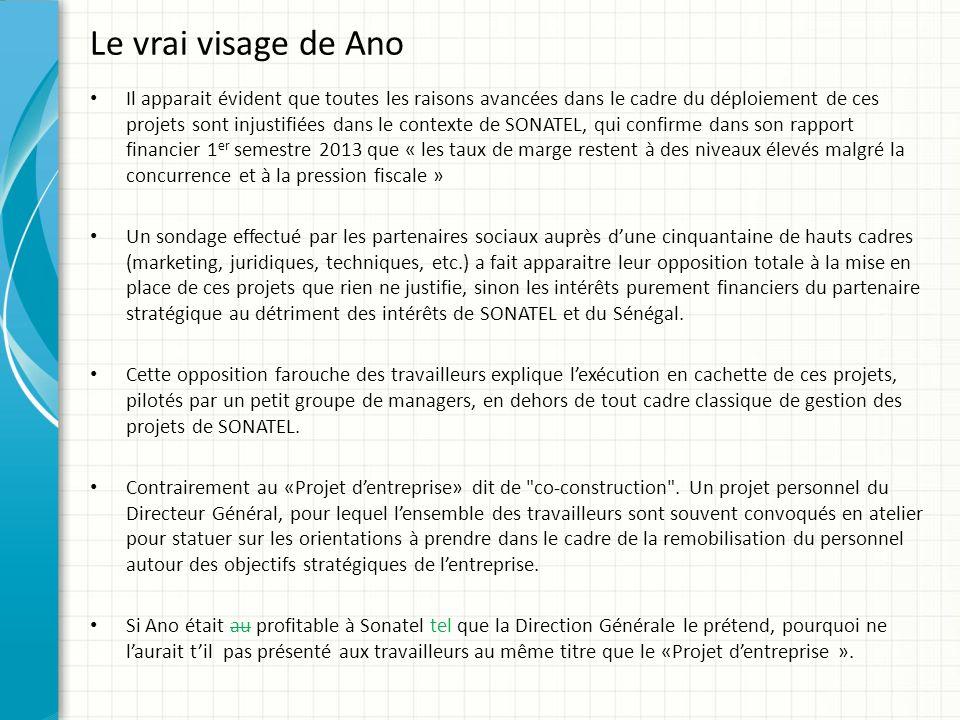 Le vrai visage de Ano Il apparait évident que toutes les raisons avancées dans le cadre du déploiement de ces projets sont injustifiées dans le contex
