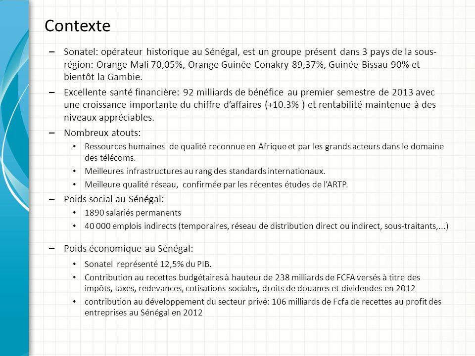 Contexte – Sonatel: opérateur historique au Sénégal, est un groupe présent dans 3 pays de la sous- région: Orange Mali 70,05%, Orange Guinée Conakry 8