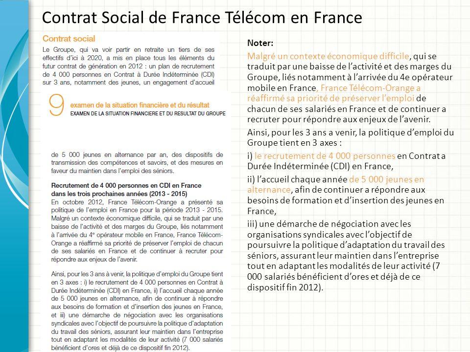 Contrat Social de France Télécom en France Noter: Malgré un contexte économique difficile, qui se traduit par une baisse de lactivité et des marges du