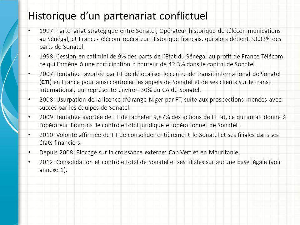 Historique dun partenariat conflictuel 1997: Partenariat stratégique entre Sonatel, Opérateur historique de télécommunications au Sénégal, et France-T