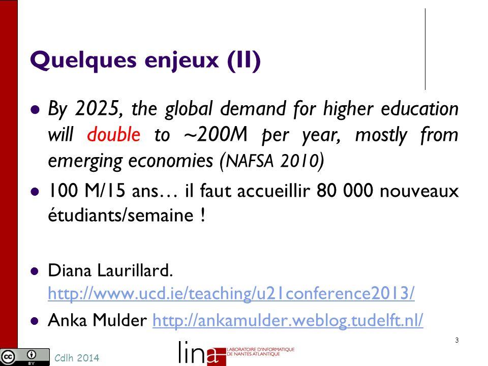 Cdlh 2014 Quelques enjeux (III) 4 220 M de Francophones en 2010… 700 M en 2050 3% (2012) plus de 7% en 2050 Dès 2030, le nombre de francophones aura déjà dépassé celui danglophones (en baisse), qui ne sera plus que de 5% en 2050 René Marcoux (Université Laval et coordonnateur du Réseau Démographie de lAgence universitaire de la francophonie)