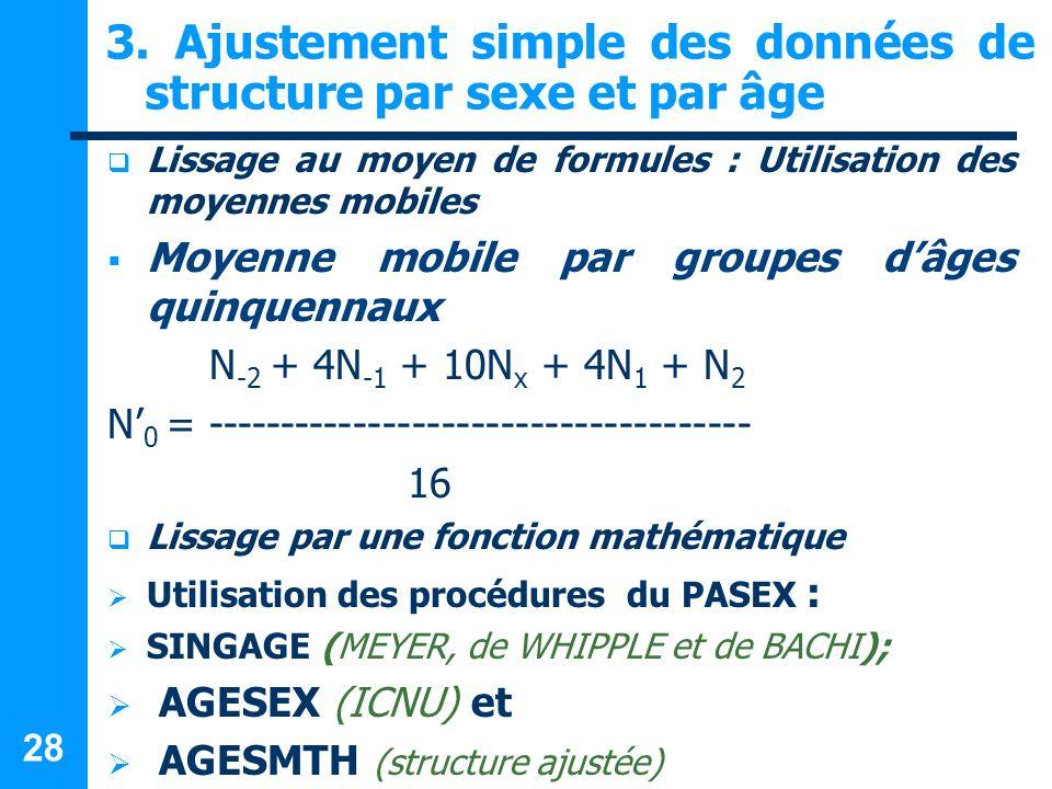28 3. Ajustement simple des données de structure par sexe et par âge Lissage au moyen de formules : Utilisation des moyennes mobiles Moyenne mobile pa