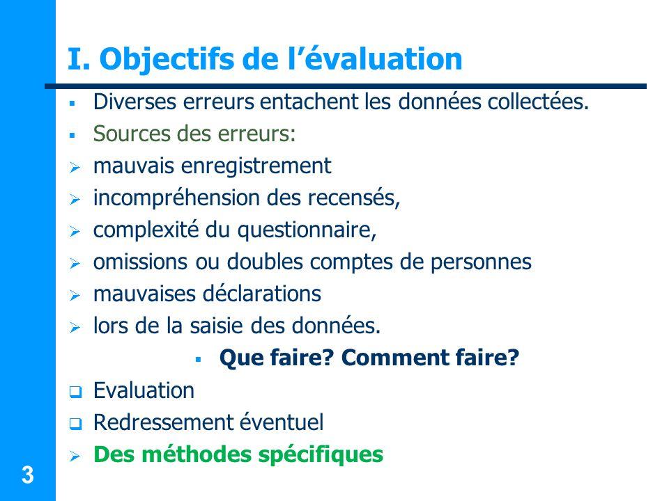 3 I. Objectifs de lévaluation Diverses erreurs entachent les données collectées. Sources des erreurs: mauvais enregistrement incompréhension des recen