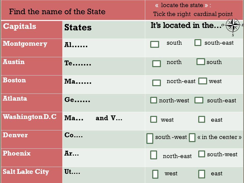 Capitals States Montgomery Al …… Austin Te …….
