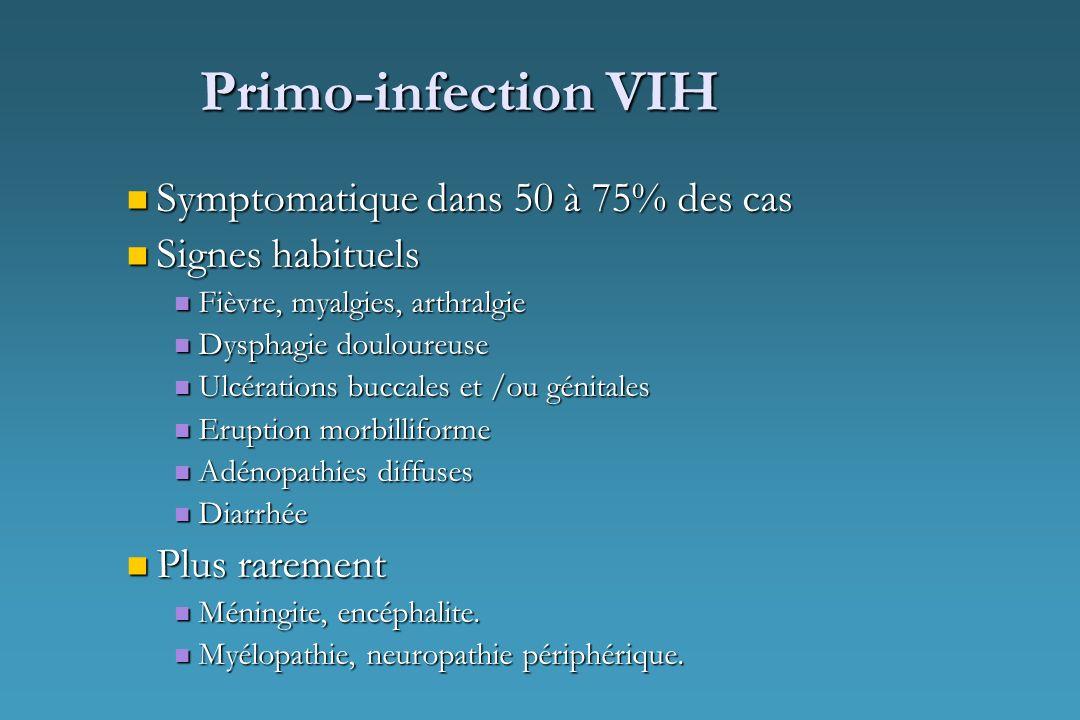 Primo-infection VIH Symptomatique dans 50 à 75% des cas Symptomatique dans 50 à 75% des cas Signes habituels Signes habituels Fièvre, myalgies, arthra