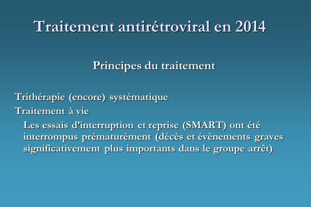 Traitement antirétroviral en 2014 Principes du traitement Trithérapie (encore) systématique Traitement à vie Les essais dinterruption et reprise (SMAR