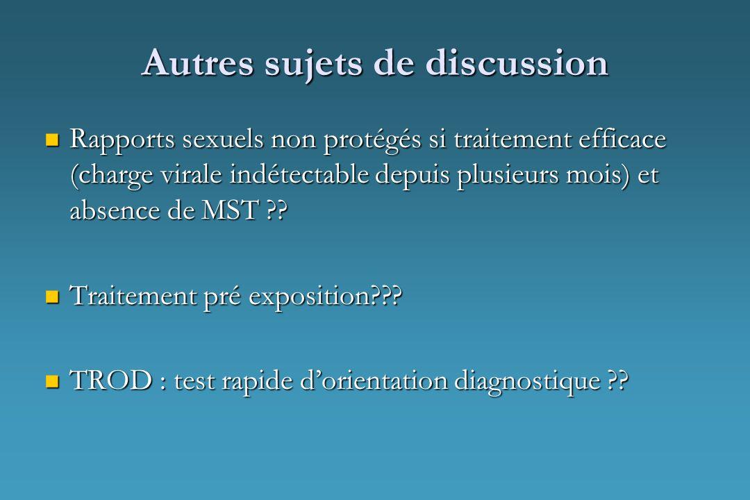 Autres sujets de discussion Rapports sexuels non protégés si traitement efficace (charge virale indétectable depuis plusieurs mois) et absence de MST