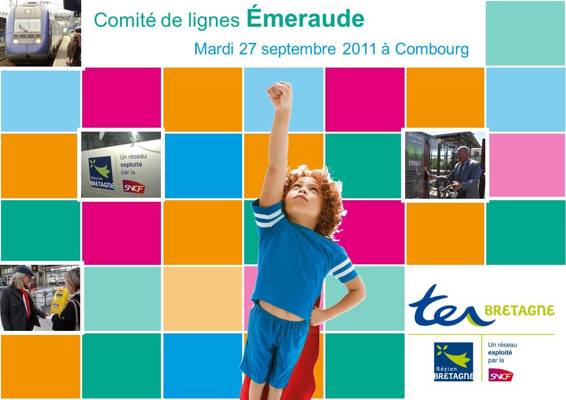 Comité de lignes Émeraude – Mardi 27 septembre 2011 www.ter sncf.com/bretagnewww.ter TER Bretagne, cest … 340 trains/jour + 17 000 abonnés + 50% de fréquentation depuis 2002 + 96,3% des trains à lheure en 2010 + 100% des trains neufs ou rénovés 2