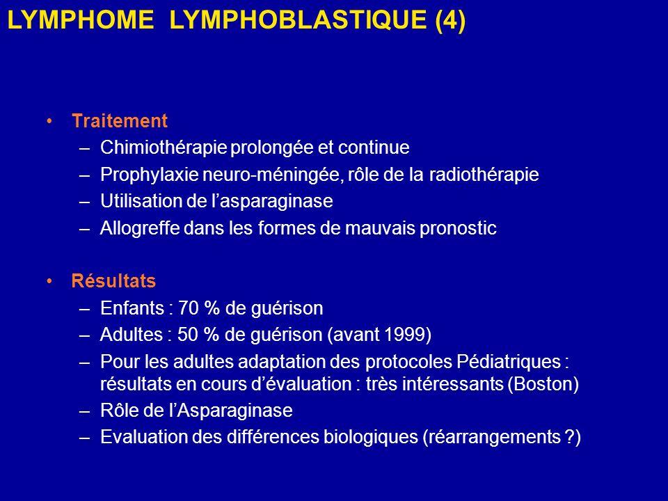 Traitement –Chimiothérapie prolongée et continue –Prophylaxie neuro-méningée, rôle de la radiothérapie –Utilisation de lasparaginase –Allogreffe dans