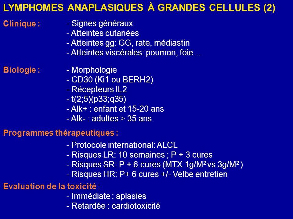 LYMPHOMES ANAPLASIQUES À GRANDES CELLULES (2) Clinique : Biologie :- Morphologie - CD30 (Ki1 ou BERH2) - Récepteurs IL2 - t(2;5)(p33;q35) - Alk+ : enf