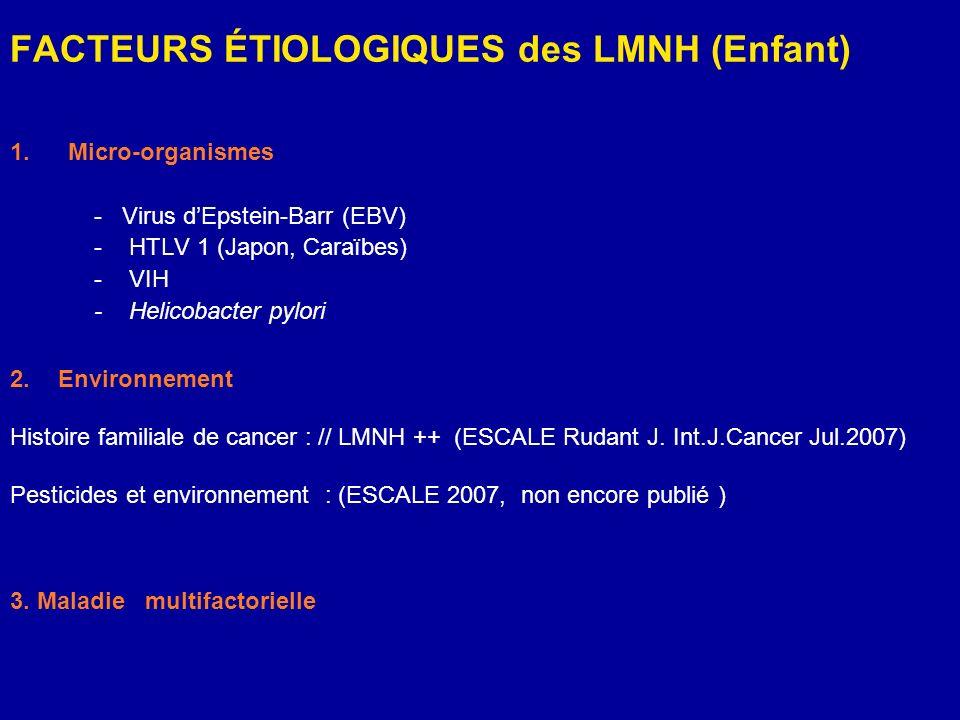 FACTEURS ÉTIOLOGIQUES des LMNH (Enfant) 1.Micro-organismes - Virus dEpstein-Barr (EBV) - HTLV 1 (Japon, Caraïbes) - VIH - Helicobacter pylori 2.Enviro