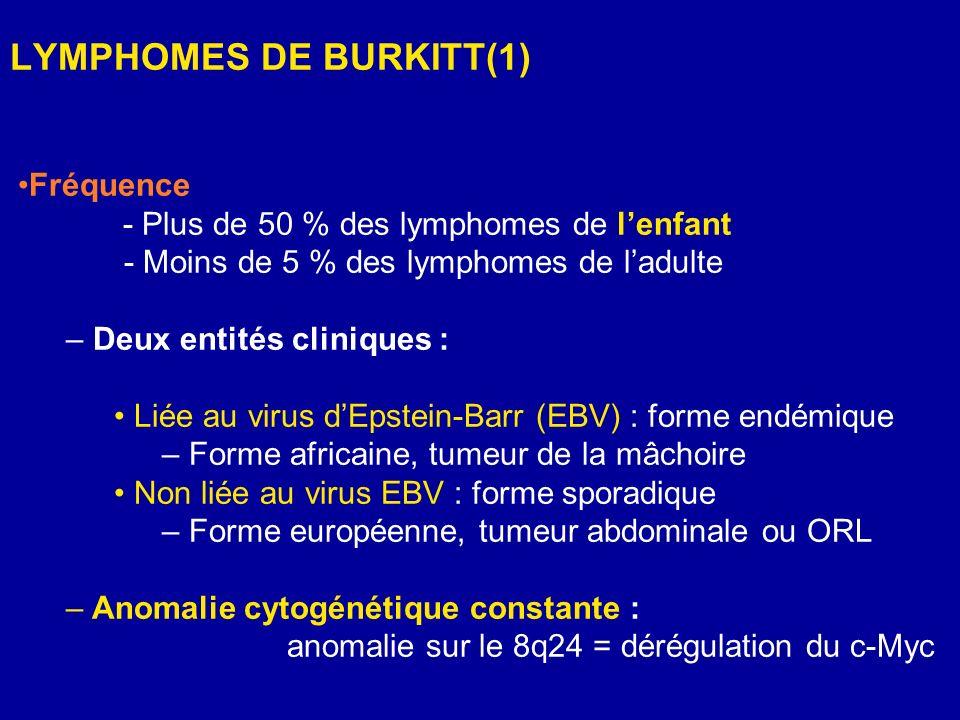 LYMPHOMES DE BURKITT(1) Fréquence - Plus de 50 % des lymphomes de lenfant - Moins de 5 % des lymphomes de ladulte – Deux entités cliniques : Liée au v