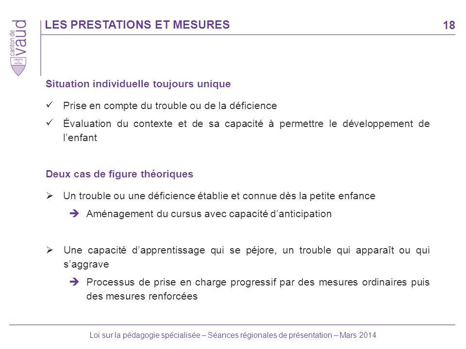 18 Loi sur la pédagogie spécialisée – Séances régionales de présentation – Mars 2014 LES PRESTATIONS ET MESURES Situation individuelle toujours unique