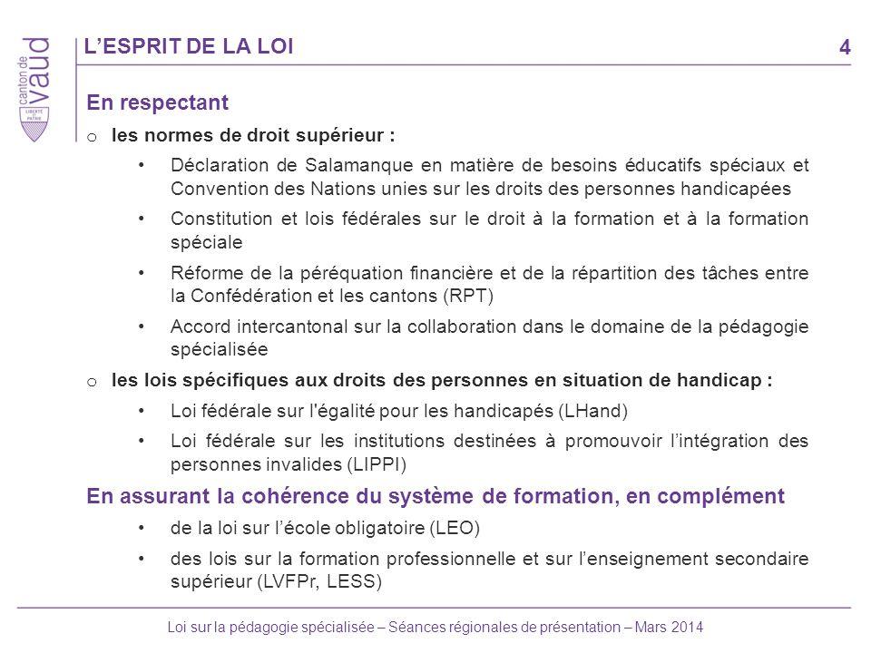 4 Loi sur la pédagogie spécialisée – Séances régionales de présentation – Mars 2014 LESPRIT DE LA LOI En respectant o les normes de droit supérieur :