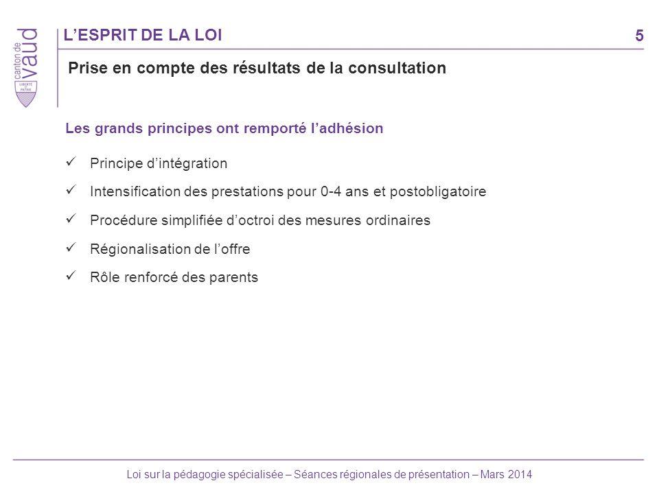 5 Loi sur la pédagogie spécialisée – Séances régionales de présentation – Mars 2014 LESPRIT DE LA LOI Les grands principes ont remporté ladhésion Prin